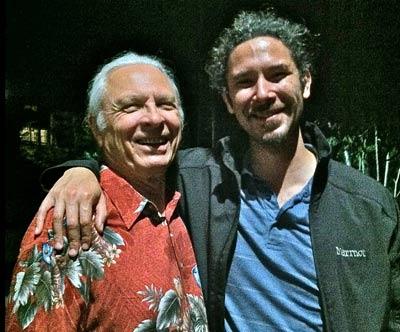 Jacksonville host Terry Erdmann with Britt Orchestra violist Rene Salazar.