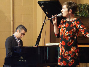Caption: Pianist Josh Nelson and vocalist Sara Gazarek (Duo Project) perform during Siskiyou Music Project jazz concert on March 13 in Medford. Photo by Ed Dunsavage.