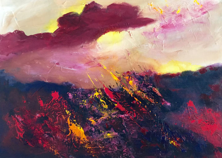 """Fire and Light,"" acrylic painting by Patrick Beste"