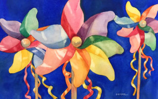 """Pinwheels,"" watercolor by Anne Brooke"