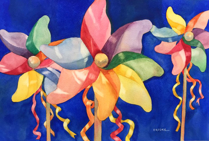 """""""Pinwheels,"""" watercolor by Anne Brooke"""