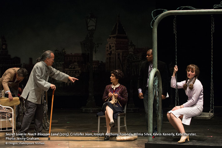 Jiang (Cristofer Jean), at left, and Yun (Kate Hurster), on swing, acting in a scene from Secret Love while the Director (Joseph Anthony Foronda) makes a point with Mrs. Jiang (Vilma Silva) and Assistant Director Kevin Kenerly looks on in OSF's Secret Love In Peach Blossom Land. Photo by Jenny Graham.