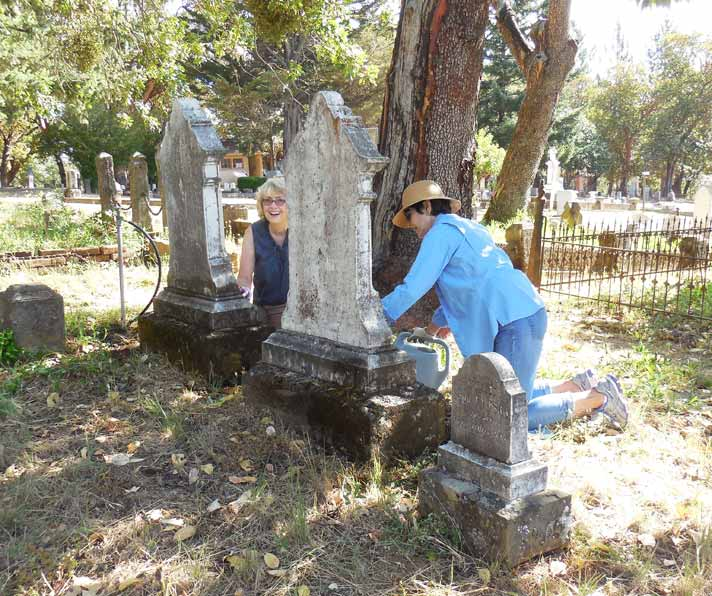 Linda DeWald and Trudy Pasquale at June 2015 Marker Cleaning. Photo: Mary Siedlecki
