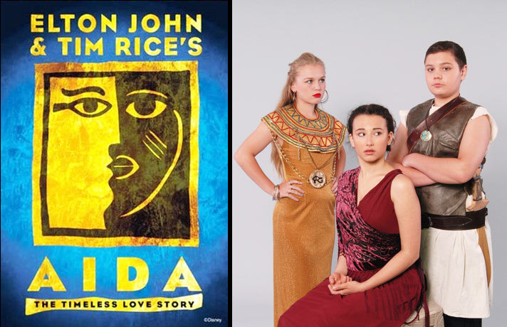 Left: Logo from the Broadway Production of Elton John's Aida Right: Princess Amneris (Aubrey James Campbell) in GOLD, Aida (Zoe Lishinsky) in MAROON & Radames (Dylan Evans) with SWORD in Camelot Conservatory's Production of Elton John's Aida