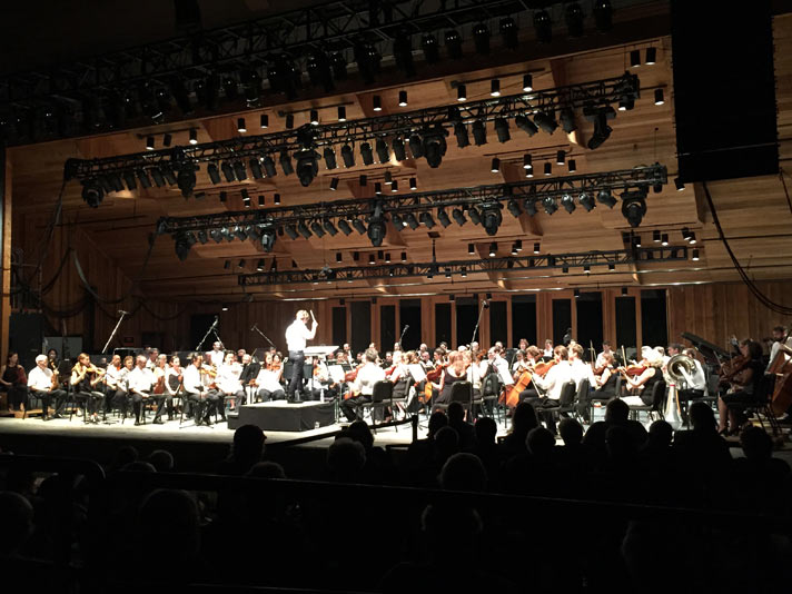 Maestro Teddy Abrams leads the Britt Orchestra in a performance of Igor Stravinsky's The Rite of Spring on the Second Night of the Britt Classical Festival, on August 1, 2015 at Jacksonville, OR.