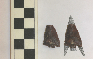 This image shows a chert projectile point, with an illustration on the right to show what the point would have looked like before it was broken (scale in centimeters).